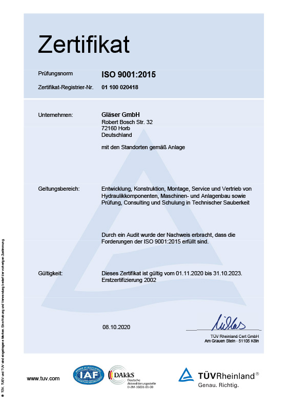 Certificate ISO 9001<br>german Version