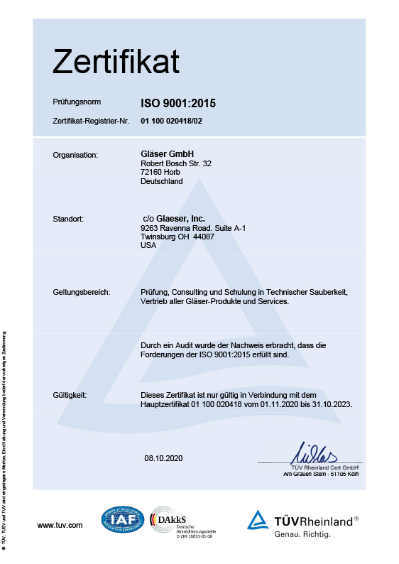 Certificate ISO 9001<br>Version USA