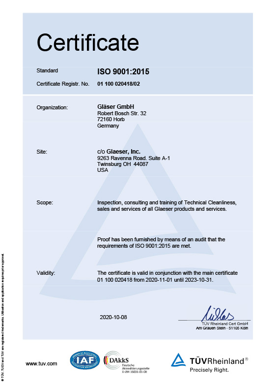 Certificate ISO 9001<br>Version China