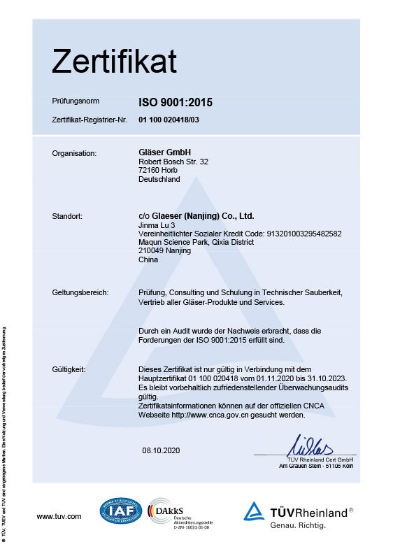 Certificate ISO 9001<br>chinese Version