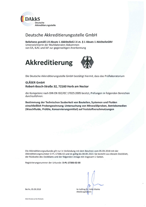 Accreditation <br>certificate<br>ISO 17025 Germany <br>engl. Version